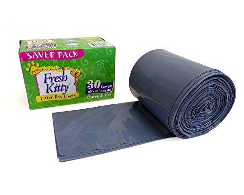 Fresh Kitty Super Thick, Durable, Easy Clean Up Jumbo Scented Litter Pan Box Liners, Bags with Ties for Pet Cats, 30 ct]()