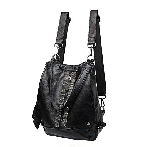 Sprnb Crossbody Bolso bolsa puede ser la primera capa de cuero Negro Mochila,hembra Black