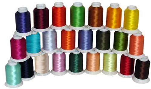 - 24-Cone Polyester Bobbin Machine Embroidery Thread Kit - 24 Colors - 1100 Yards - 60wt
