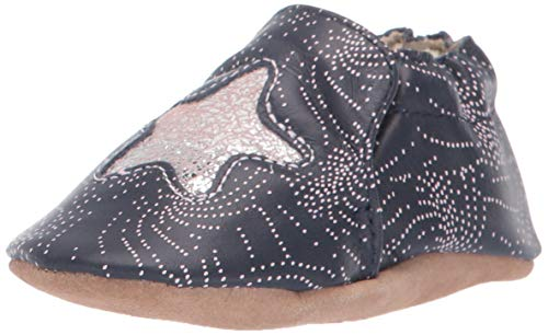 Robeez Girls' Soft Soles Crib Shoe, Navy, 6-12 Months