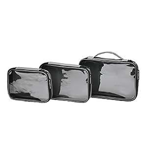 Kathmandu 3 Clear View Packing Cells Travel Luggage Packs Storage Bags Black 3PC