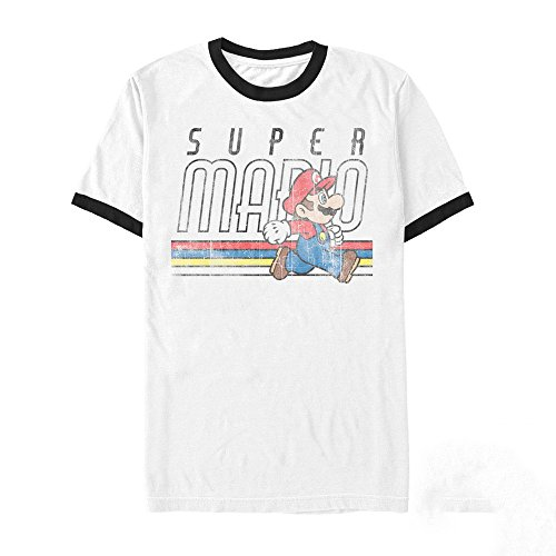 (Nintendo Men's Super Mario Classic Stripes White/Black Ringer T-Shirt)