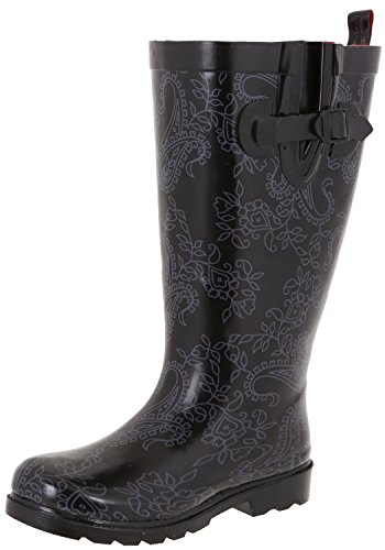 Lace Capelli York Lace Tall Printed Black amp; Roses Ladies New Rainboot Shiny qIrSIw