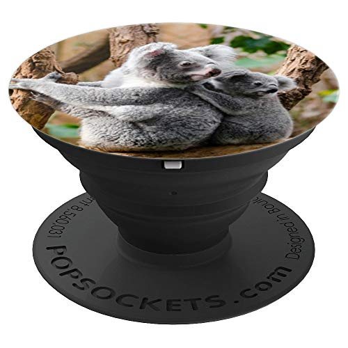 Grey Portrait Pedestal - Koala Bears Tree Sitting Perched Portrait Grey Animal - PopSockets Grip and Stand for Phones and Tablets
