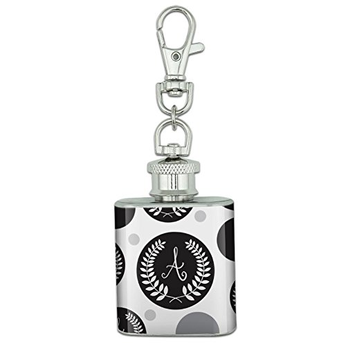 Stainless Steel 1oz Mini Flask Key Chain - Monogram Olive Leaves Wreath Calligraphy (Monograms Mini Hip)