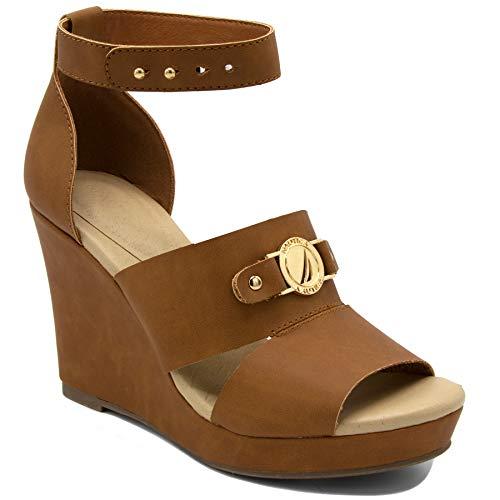 Nautica Women's Jaelyn Open Toe Platform Wedge High Heel Sandals-Tan-10