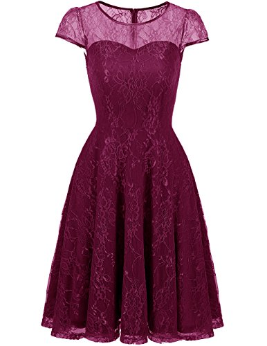 Swing Grape Cap DRESSTELLS With Bridesmaid Women Lace Party Retro Dress Dresses s Sleeves wURqY