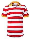 URBANCREWS Mens Hipster Hip Hop Wide Striped Polo T-Shirt Redwhite, XL