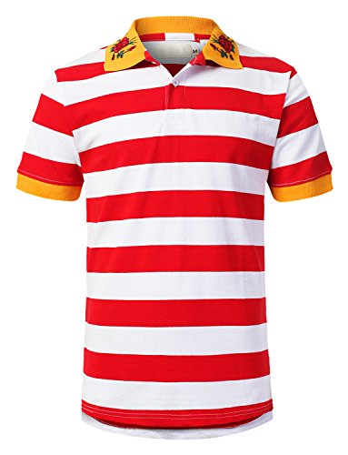 URBANCREWS Mens Hipster Hip Hop Wide Striped Polo T-Shirt Redwhite, XL by URBANCREWS