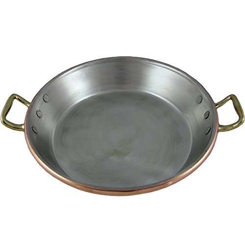 Traditional Copper Paella Pan Paellera Made In Portugal (N5. 16 inch - 40CM)