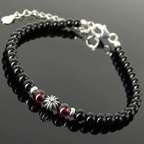 Handmade Healing Round Cross Gemstone Bracelet with Men's Women's Bright Black Onyx, Grade AAA Garnet, Genuine S925 Sterling Silver Clasp, Chain, Link