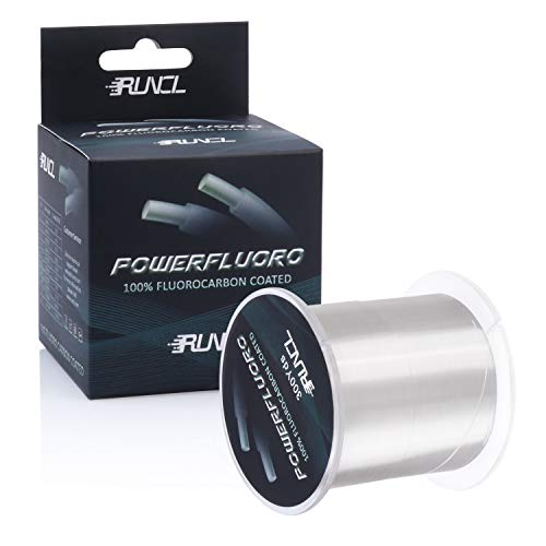 RUNCL PowerFluoro Fishing Line, 100% Fluorocarbon Coated Fishing Line, Hybrid Line - Virtually Invisible, Faster Sinking, Low Stretch, Extra Sensitivity, Abrasion Resistance (300Yds, 12LB(5.4kgs))