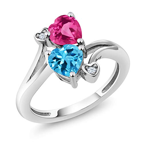 1.78 Ct Heart Shape Swiss Blue Topaz Pink Created Sapphire 10K White Gold Ring (Size 7)