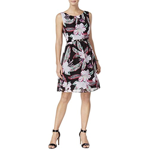 (Connected Apparel Womens Chiffon Floral Print Wear to Work Dress Black 10)