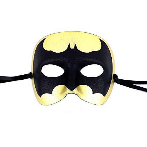 Samantha Peach Gold Batman Mens Masquerade Mask Italian Made