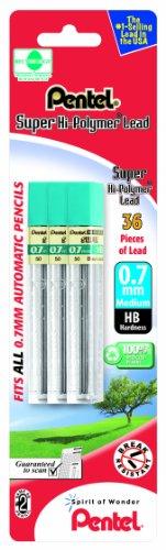 Pentel Super Hi-Polymer Lead Refill 0.7mm, HB, 36 Pieces of Lead (L50BP3HB-K6)