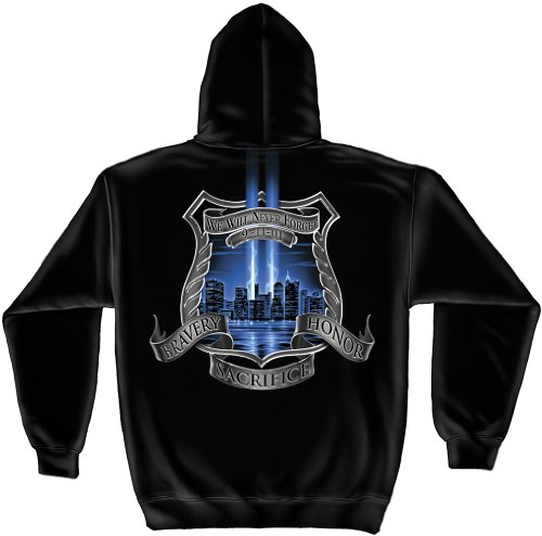 Law Enforcement Hooded Sweatshirt, 100% Cotton Casual Men's Shirts, Show Your Pride with our Law Enforcement 911 Tribute Long Sleeve Sweatshirts for Men or Women (XXX-Large)