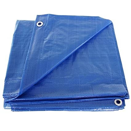 SGT KNOTS Waterproof Tarp 5 x 7 feet 5 mil Thickness - All Weather/Purpose Blue Poly Tarp - Rust-Proof Grommets - Reinforced Edges - For Camping, Hunting, Tent Fly, Painting, Canopy, Cover