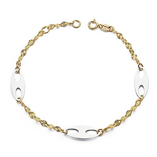 Bracelet 18k gold 19cm bicolor. avions de aussières [AA7440]