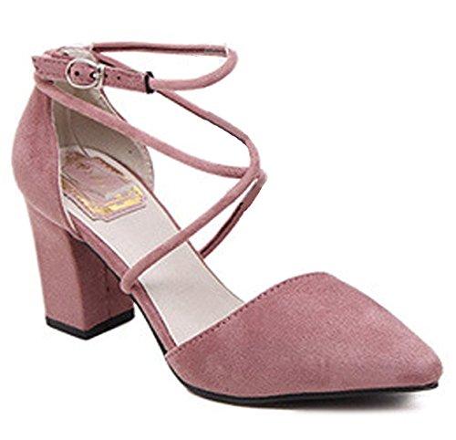 Minetom Damen Elegant Spitz Zehe Schuhe Kreuz Knöchel Riemen Nubuk Sandalen Mit Blockabsatz Rosa