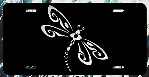 JMM Industries Dragonfly Vanity Novelty License Plate Tag Metal Car Truck Bumper 6-Inches by 12-Inches Etched Aluminum UV Resistant ELP093