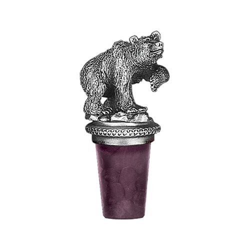(1pc, Pewter Grizzly Bear Bottle Stopper)