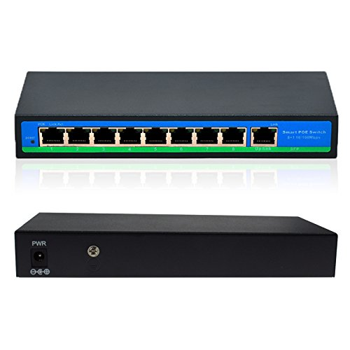 ANVISION 9-Port Ethernet Switch with 8 Ports POE + 1 Uplink, 10/100Mbps IEEE802.3af/at 120W by ANVISION