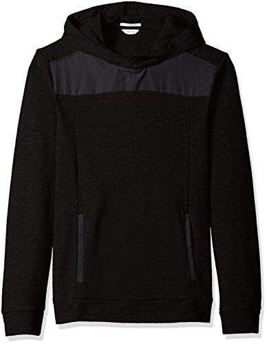 Blocked Hoody (Calvin Klein Men's Space Dye Fabric Blocked Hoodie, Black,)