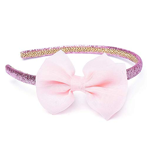 Girls Headband Twinkle Glitter Hairband Bow Hair Accessories (1 headband - Pink)