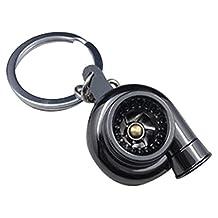 Turbocharger keychain - SODIAL(R) Sleeve Bearing Spinning Golden Auto Parts Models Turbine Turbocharger Turbo Keychain Key Chain Ring Keyfob Keyring Black