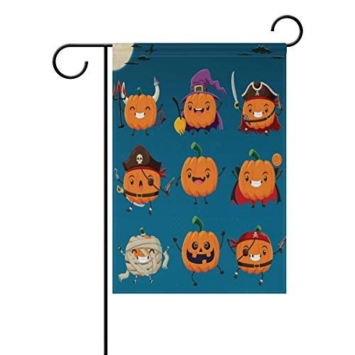 (OPRINT Vintage Halloween Witch Vampire Garden Flag Banner 12 x 18 Inch Double Sided Polyester Home)