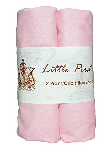 2 pack Baby Bassinet Cradle Jersey Fitted Sheet Pink, 100% Cotton-Luxury Brushed Percale 15x33 inches