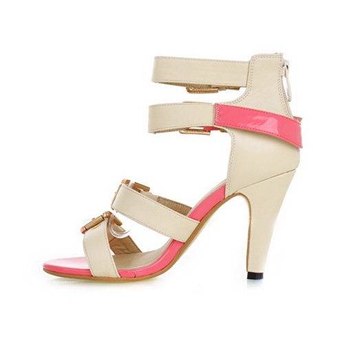 VogueZone009 Womens Open Toe High Heel Chunky Heels Soft Material Solid Sandals with Zipper, Pink, 4.5 UK