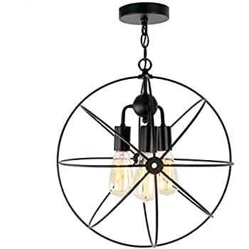 Unitary Brand Antique Black Metal Cage Globe Semi Flush Mount Ceiling Light with 3 E26 Bulb Sockets 120W Painted Finish