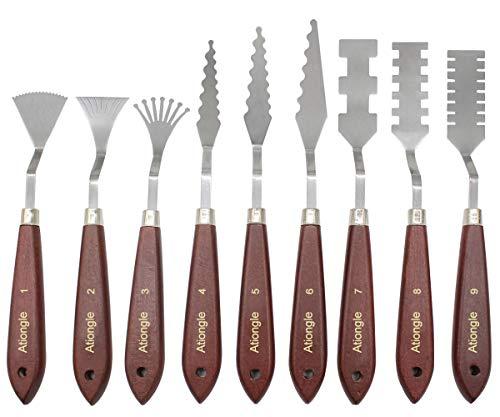 Ationgle Palette Knife 9 Pieces Paint Knives Set Palette Scraper