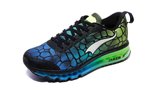 UB-ONEMIX Mens Lightweight Athletic Running Shoes Breathable Sport 9.5 D(M) US Sky Blue/Green
