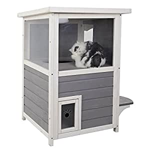 """Petsfit 20""""Lx20""""Wx32""""H Outdoor Cat Shelter,Cat House / Condo With Escape Door"""