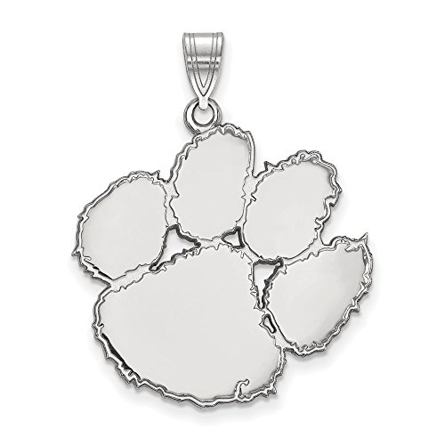 Sterling Silver LogoArt Official Licensed Collegiate Clemson University (CU) XL Pendant
