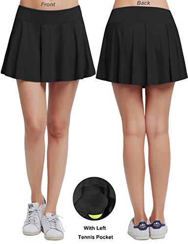 Women's Fitness Pleated Skirts Active Running Tennis Golf Lightweight Skorts With Built-In Shorts size Medium - Black Running Skirt