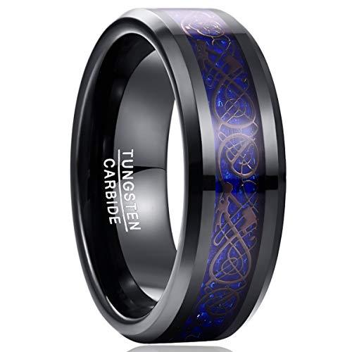 Nuncad Ring Damen/Herren Blau + keltische Drachen Vergoldet mit Blauen Kohlefasern, Unisex Wolfram Ring 8mm für Hochzeit, Verlobung, Alltag und Fashion, Größe 52 bis 72 (12-32)