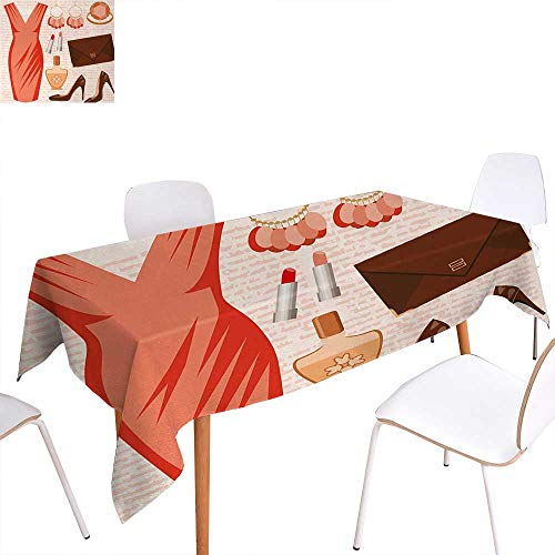 Warm Family Heels and Dresses Washable Tablecloth Accessories Fashion Cocktail Dress Lipstick Earrings High Heels Waterproof Tablecloths 70