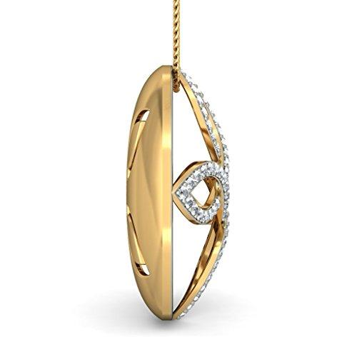 14K Or jaune 0,46CT TW Round-cut-diamond (IJ   SI) Pendentif