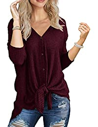 Women's Casual Solid T Shirts Twist Knot Tunics Tops Blouses