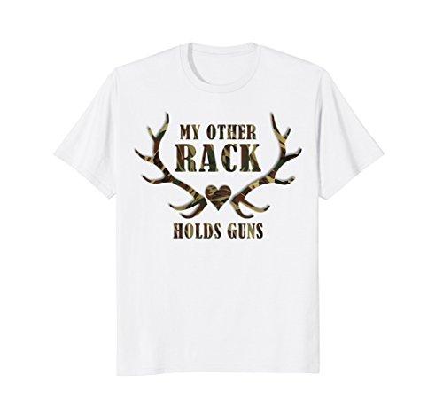Heart White T-shirt Camo - Mens My Other Rack Holds Guns Heart Hunting Camo Funny T-Shirt 3XL White