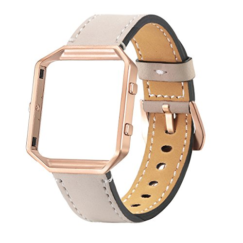 ds, bayite Accessory Leather Wristband for Fitbit Blaze Smart Watch, Beige with Rose Gold Frame (Beige Slate)