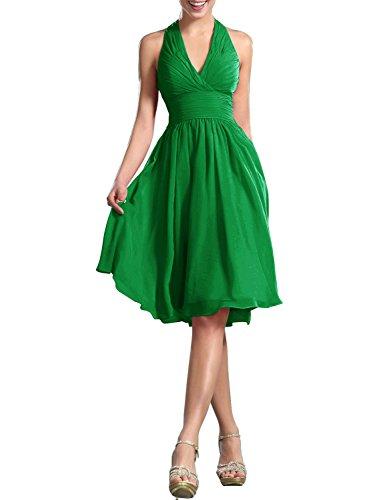 Donne Abito da PRTS Vestito da sera ballo da partito Corto Vestito da Chiffon Abiti damigella Halterneck Verde gww10