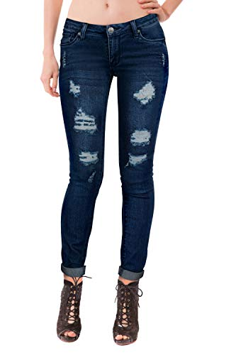 HyBrid & Company Women's Super Comfy Stretch Lace Bottom Skinny Jeans P37350SK, Ripped-dark Wash, 1 ()