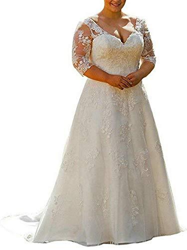 Sposa Lunga Da Bianco Nuziale Taglia Pizzo Jaeden Abito Manica Grossa Lungo Vestito Donna wp1UA1q