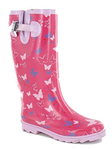 Boots Waterproof Wellies UK Size 4 Women's 3 Pink Wellington 6 8 Butterfly Fashion Shoes 7 5 Welly Ladies Festival xqYEwfCE