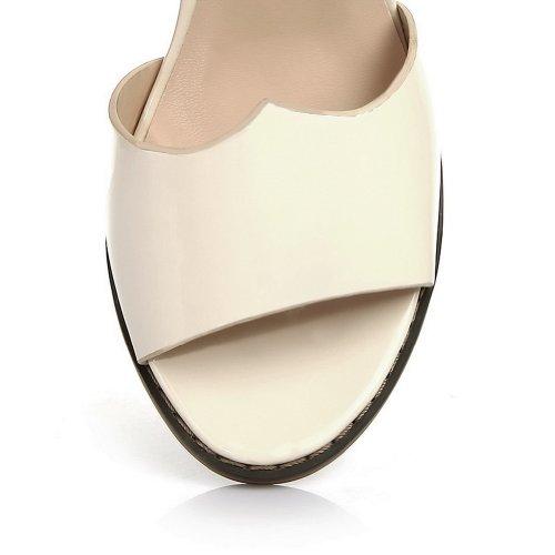 VogueZone009 Womens Open Toe Kitten Heel Chunky Heels PU Patent Leather Solid Sandals with Glass Diamond Beige febZdHcV